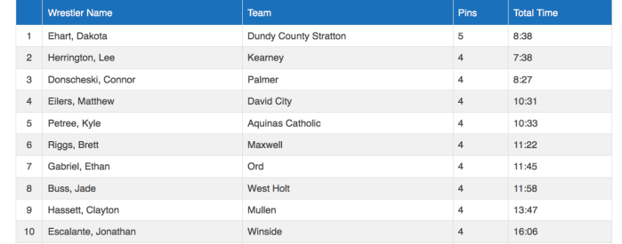 Wrestlers With Most pins at the State Tournament